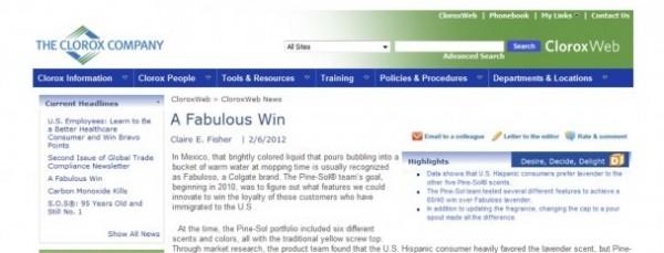 Clorox Intranet | A Fabulous Win